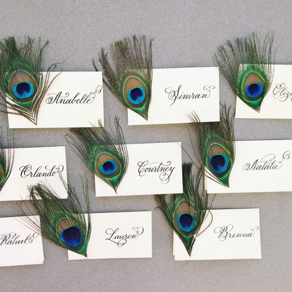 Handwritten Peacock Place Cards