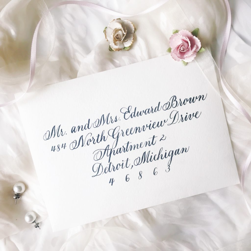 Copperplate Calligraphy Handwritten Wedding Invitation